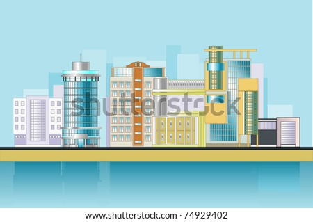 City Tower. Office buildings on the riverbank. - stock vector