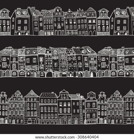city town  houses pattern  - stock vector