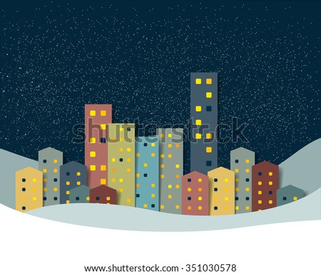 City, town night winter snow panorama. Christmas Background. - stock vector