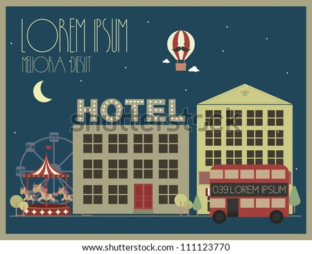 city/town template vector/illustration/graphic - stock vector