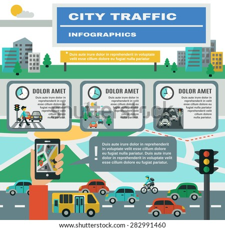 City traffic infographics set with cars gps map symbols vector illustration - stock vector