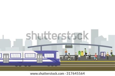 City train station flat style on white background, Public transportation.vector illustration - stock vector