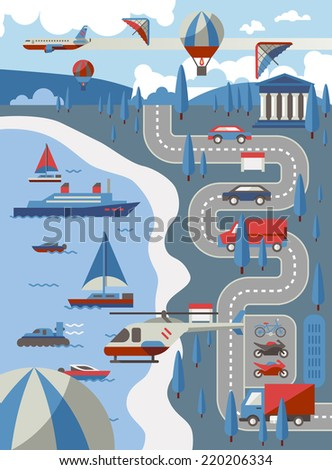 City transport concept with air water and road vehicles vector illustration - stock vector