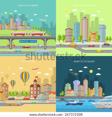 City transport design concept set with urban and suburban house buildings flat icons isolated vector illustration - stock vector