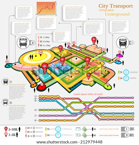 city transport infographic abstract city diagrams and transport underground - stock vector