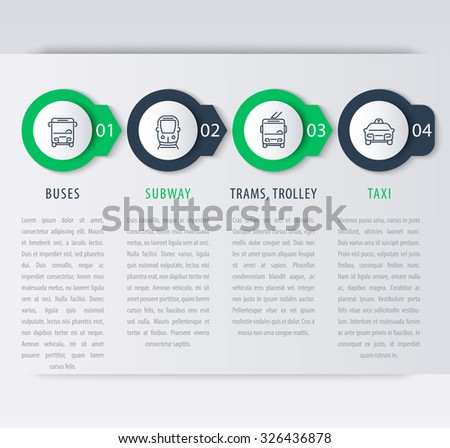 City transport, infographic elements, step labels, icons, vector illustration - stock vector