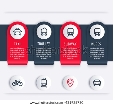 City transport, infographics elements, icons, public transportation infographics, report, presentation template, vector illustration - stock vector