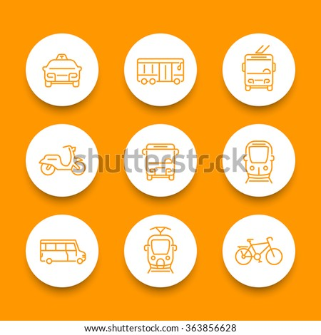 City transport line round icons, tram, train, bus, bike, taxi, trolleybus, vector illustration - stock vector