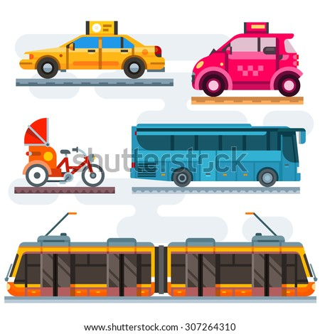 City transport set. Public transport: taxi, bus, subway, train. Personal transport: car, bike, moped, motorcycle. Vector flat illustrations - stock vector
