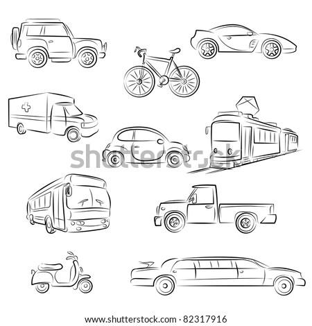 City Transport Sketch Set - stock vector