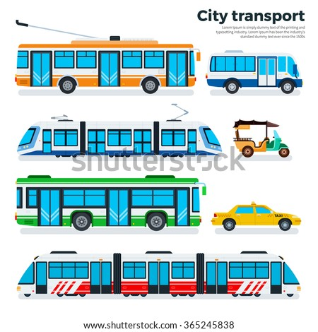 City transport vector flat illustrations. Urban life concept. Different kinds of city transport, taxi, motorbike, tram, metro, trolley bus and buses isolated on white background - stock vector