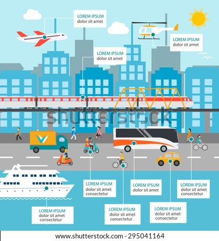 City transportation and traffic infographics design elements with transport, including plane, helicopter, bus, cyclists, train, cars, truck, scooters, yacht, pedestrians, buildings, road. - stock vector