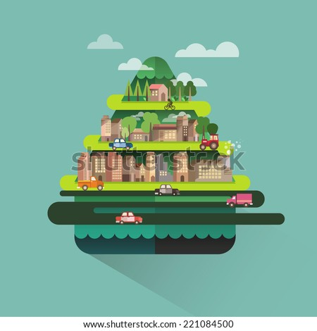 City travel landscape with hills house and building,Vector ecology illustration info graphic elements flat editorial style,Vector illustrator Building - stock vector