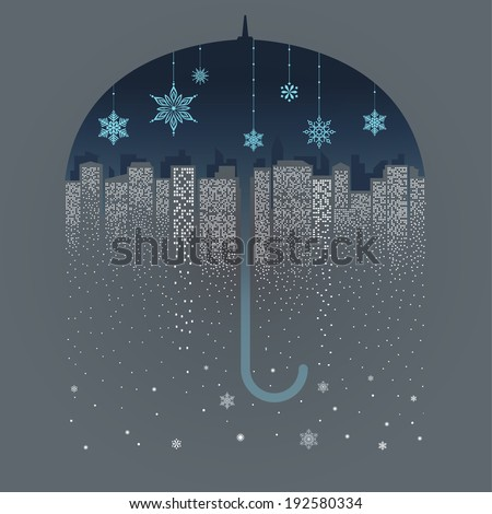 City under night umbrella. High rise buildings lights become falling snow. Holidays concept. Vector EPS 10 illustration.  - stock vector