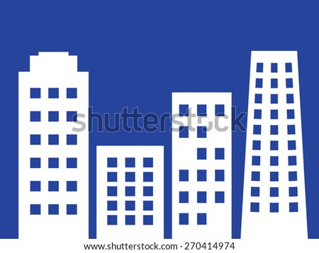 City vector illustration with city  white skyscrapers, simple silhouettes buildings. - stock vector