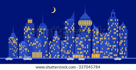 City view at night. Some windows are glows and cars are moves on the street. - stock vector