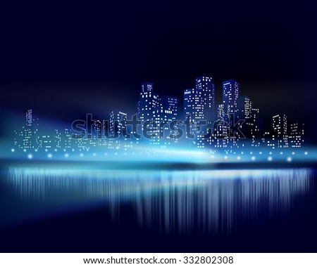 City view at night. Vector illustration - stock vector
