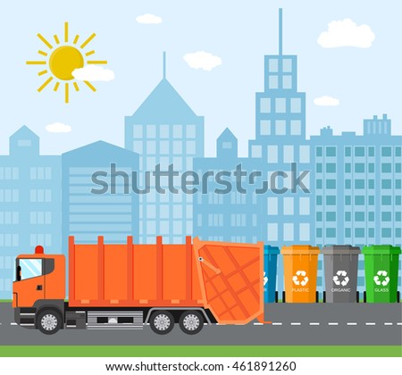 management waste disposal city waste recycling concept garbage truck stock vector 461891260