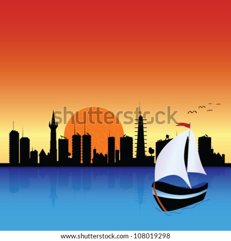 city with boat illustration - stock vector
