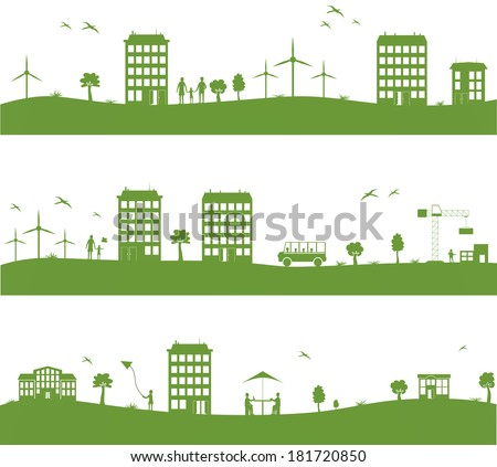 city with cartoon houses, green eco  panorama - stock vector