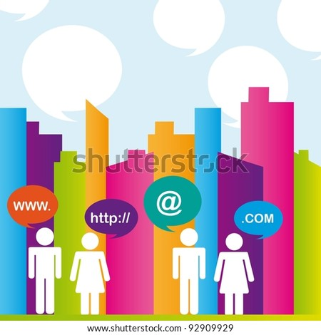 City with colors and people communication. vector illustrator - stock vector