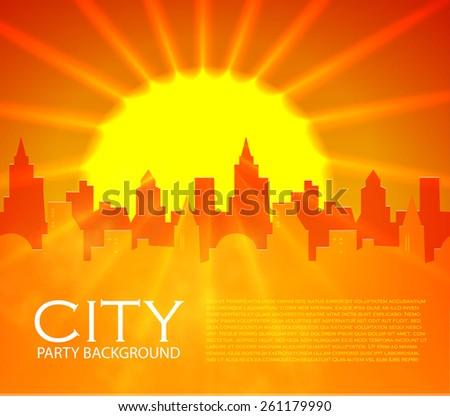City with shining sun. Vector illustration - stock vector