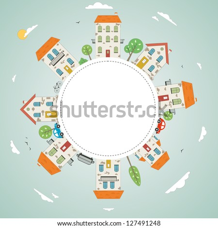 City with sky. Vector - stock vector