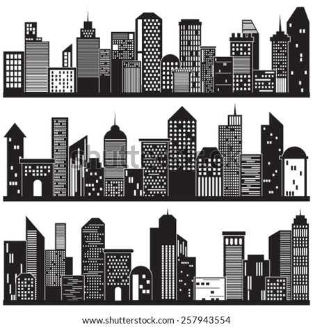 Cityscape and Building Silhouettes Design
