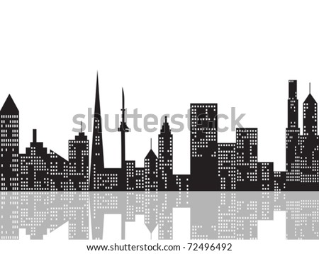 cityscape at night and its reflection on river - stock vector