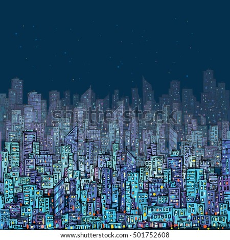 Cityscape at night. hand drawn, vector illustration