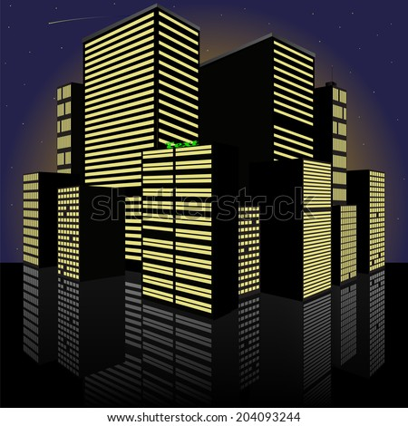 Cityscape at night. Made in vector - stock vector