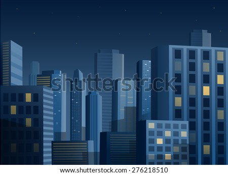 Cityscape at night vector illustration background - stock vector