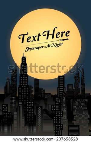 cityscape at night with full moon. Vector illustration - stock vector