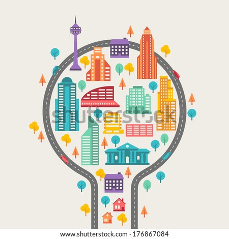 Cityscape background with buildings. - stock vector