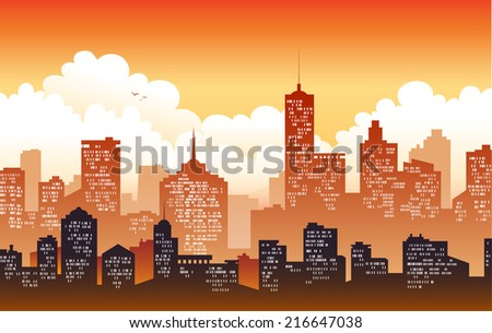 Cityscape backgrounds in sunset - stock vector