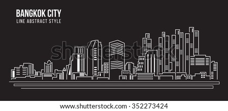 Cityscape Building Line art Vector Illustration design - Bangkok city