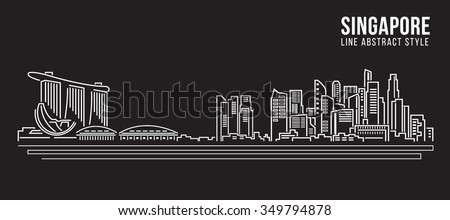 Cityscape Building Line art Vector Illustration design - Singapore - stock vector