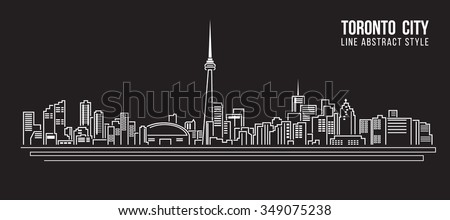 Cityscape Building Line art Vector Illustration design - Toronto city - stock vector