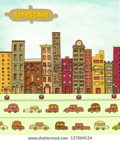 Cityscape Cartoon, with skyscrapers, clock tower and cars in the street - stock vector