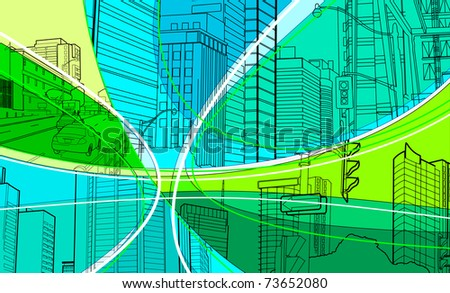 cityscape collage - stock vector