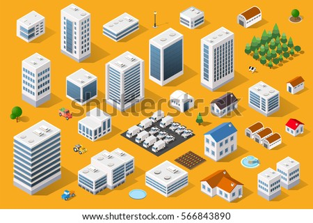 Cityscape design elements with isometric building city map generator. 3D flat icon set. Isolated collection  for creating your perfect road, park, transport, trees, infrastructure, industrial
