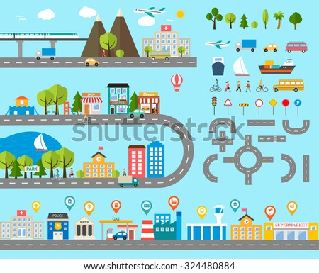 Cityscape design elements with navigation pins, road, park, transport, people, buildings, trees set. May be used for web site, brochure design, infographics template, chart, vector illustration - stock vector