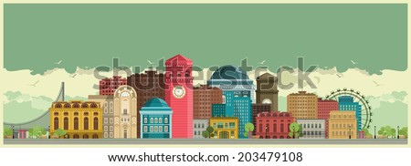 cityscape for wide screen with high-rise buildings against the sky  - stock vector