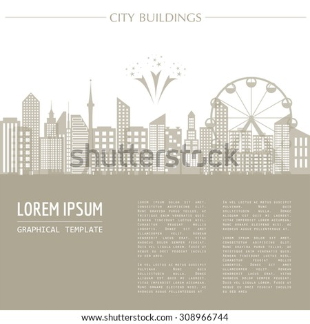 Cityscape graphic template. Modern city architecture. Vector illustration with different modern city buildings. City constructor. Template with place for text. Color version - stock vector