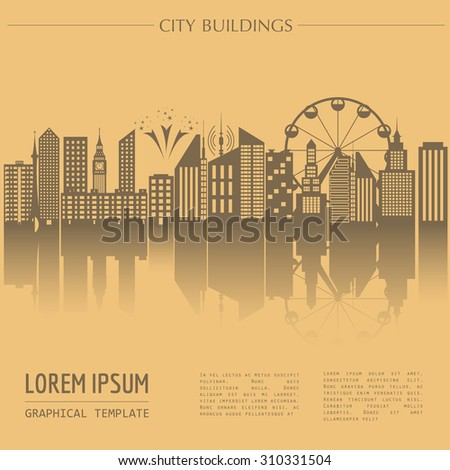 Cityscape graphic template. Modern city architecture. Vector illustration with different modern city buildings. City constructor. Template with place for text. Colour version - stock vector
