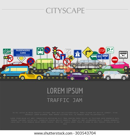 Cityscape graphic template. Modern city. Vector illustration. Traffic jam, transport, cars, road signs. City constructor. Template with place for text. Colour version - stock vector