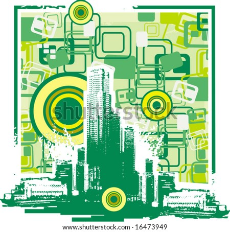 Cityscape grunge silhouette with an abstract background. Vector illustration.