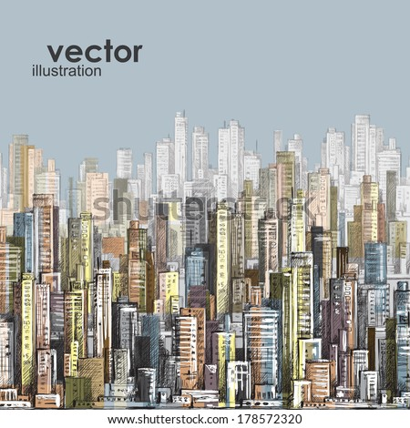 Cityscape. Hand drawn vector - stock vector