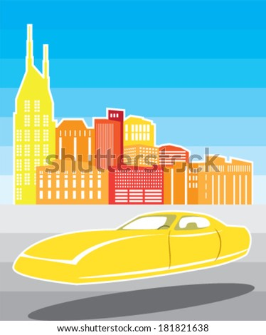 Cityscape Hovering Car - stock vector