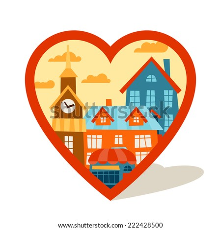 Cityscape navigation marker with cute colorful houses. - stock vector